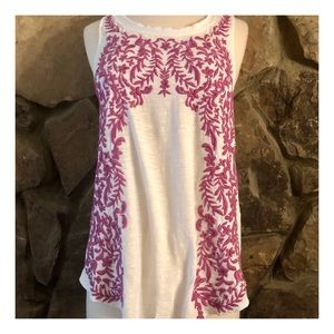 Lucky Brand Boho Embroidered Tank, Small